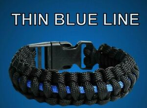 Thin Blue Line Paracord Bracelet Free P&P UK