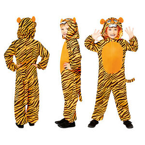 Childs Tiger Fancy Dress Animal Costume Zoo World Book Day Girls Boys All In One