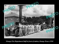 OLD LARGE HISTORIC PHOTO OF ORANGE TEXAS, THE FIRE DEPARTMENT STATION c1950