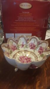 Vintage Hand Painted NIPPON Porcelain 3 Footed Candy Dish Bowl