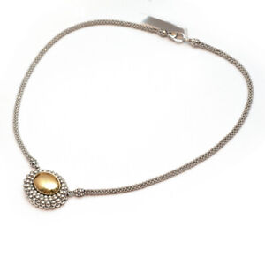 NWT LAGOS Two Tone Silver & 18K Gold High Bar Caviar Oval Pendant Necklace