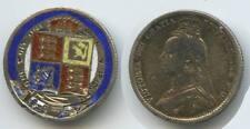 GX188 - Jeton 6 Pence 1887 British Love Token Enamled Order of the Garter Crest
