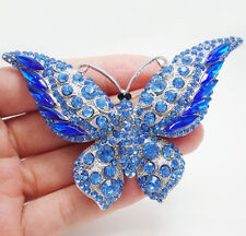 Silver Tone Butterfly Insect Blue Rhinestone Crystal Art Style Brooch Pin
