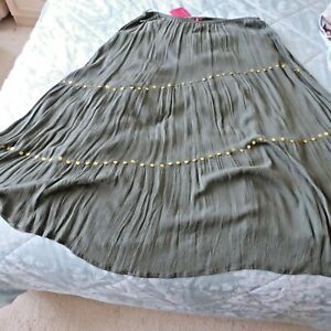 """BNWT TOGETHER  LINED TIERED CRINKLE & GOLD SEQUINS MAXI SKIRT PLUS 24 KHAKI 36""""L"""
