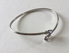 9 Carat Italian White Gold Bracelet Bangle Tanzanite Amethyst? 3.88g Dainty