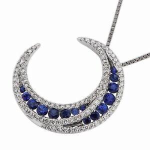 Halloween 1 ct Blue Sapphire Crescent Men's Moon Pendant Free Ruby Stud Silver