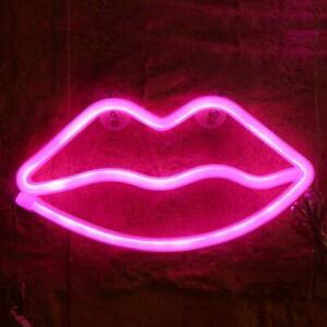 Indoor LED Neon Sign Night Lights Lips Lamp Wall Decor Light Kids Room Wedding