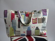 Little City, LARGE SHOPPING TOTE. fabric tote, shoulder bag, beach, handbag