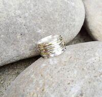 925 Sterling Silver & Brass Meditation Statement Spinner Ring Size-N Handmade 4
