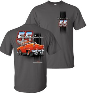 55 Chevy Bel Air Tooned Up T-Shirts by Johny Rockstar- 100% Cotton Preshrunk