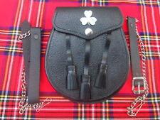 Men Full Dress Leather Kilt Sporran Black Bovine with Scottish Thistle Cantle