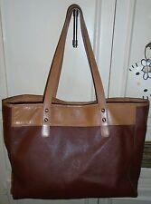 Designer FOSSIL Brown Leather Tote Shopper Shoulder Bag Handbag Purse Large