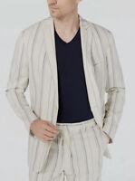 $188 INC International Mens Beige Slim Fit Sport Striped Linen Blazer Jacket XL