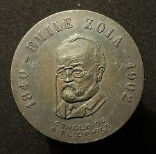 Einseitige Bronzemedaille o.J. auf Emile Zola, 1840-1902