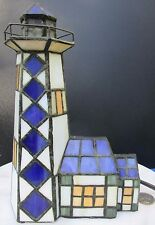 """Vintage Colorful Stained Glass Miniature Lighthouse Lamp 9"""" Tall"""