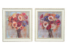 Vintage Shabby Chic Style Canvas with Frame -Bunch of Poppys - Set of 2  - NEW