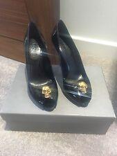 Alexander McQueen Black Patent Skull Heels