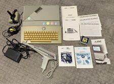 Atari XE Console XEGS Video Game Lot 2 Games Light Gun Joystick Keyboard Tested