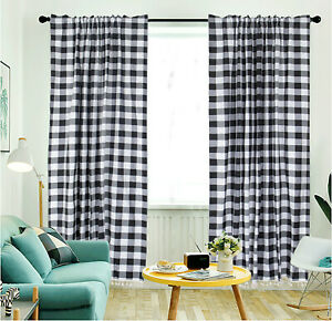 Buffalo Plaid Curtains Tassel 2 Panels Rod Cotton Plaid Curtains for Living Room