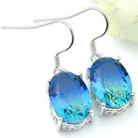 London Blue Watermelon Bi Color Tourmaline Gemstone Silver Dangle Hook Earrings