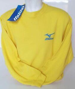 Mizuno Mens Sweater, knitted Jumper, Crew neck, Jersey, Yellow, UK X Large