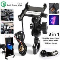 Motorcycle Mobile Phone Holder USB Fast Charger Aluminum-alloy Handlebar Bracket