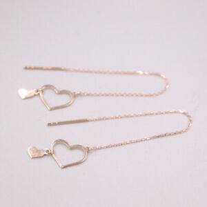 """Real 18K Rose Gold Dangle Earrings Big Heart Charm with O Link Chain 3.74"""" L"""