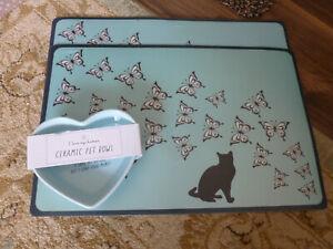 Brand new 2 cat feeding mats and ceramic bowl.