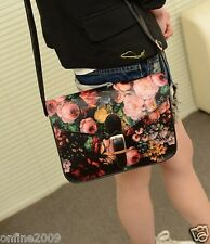 Women Messenger Bag Painting Flowers Leather Crossbody Handbag Tote Bags CA