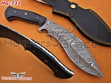 "Damascus Custom Handmade Hunting 13"" Kukri Knife Micarta Sheet Handle HG-731"