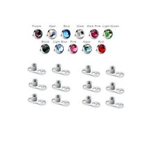 12 Dermal Anchor Tops 4mm Flat Cubic Zirconia and 12 Dermal Bases - 24 Pieces