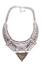 Cleopatra Chrome Bib Clear Gold Spec Pyramid Pendant Statement Necklace(Ns14)