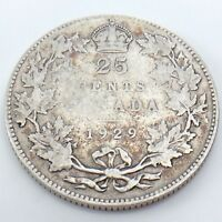 1929 Canada 25 Twenty Five Cents Quarter Silver King George V Canadian Coin G756