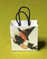 Miniature Halloween Bag - Witch Riding on Broom with Black Cat