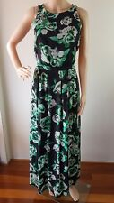 DOROTHY PERKINS Ladies Black Green Lined Floral Sleeveless Maxi Dress Size:8 EUC