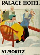 Vintage Ski Posters ST. MORITZ PALACE HOTEL, Swiss, 1920, Art Deco Travel Print
