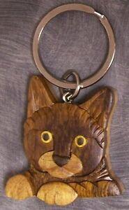Intarsia Solid Wood Key Ring Animal Cat Head NEW