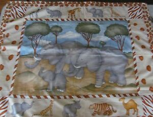 REDUCED! Elephants Tigers & Giraffes O' My Cotton & Flannel Baby Quilt
