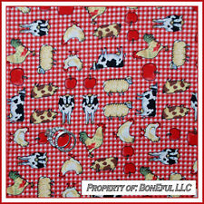 BonEful FABRIC FQ Cotton Quilt Red White Farm House Cow Pig Red Chicken Gingham