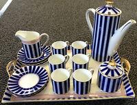 Crown Porcelain Milano 15 Piece Coffee Set On Tray