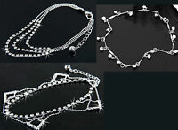 ANKLETS WITH RHINESTONE DIAMONDS 3 DIFFERENT DESIGNS. TRIANGLE, 3 CHAINS,SINGLE