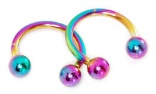 "16g 5/16"" Ball Rainbow Titanium IP Horseshoe Eyebrow Lip Septum Tragus Piercing"