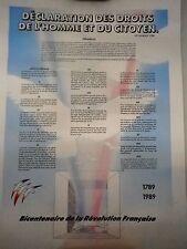 Poster Déclaration des droits de l'Homme et du Citoyen- bicentenaire- 1789-1989