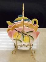 Vintage Japan Teapot Tea Bag Holders w Rack Let Me Hold The Bag Fruits Floral