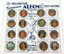 .SUPER RARE ENGLAND v AUSTRLIA FULL SET NELSON LEE TIN BADGES + ORIGINAL FOLDER.