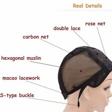 New  Mesh full Wig Cap Stretchable Lace weave one Weaving  Caps  with Comb Hook.