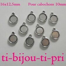 LOT de 10 SUPPORTS PENDENTIFS CABOCHON b 10mm ARGENTE 16 x 12,5mm collier perle