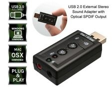 USB 2.0 External Stereo Audio Sound Adapter with Optical SPDIF Output Mic Input