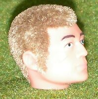 VINTAGE ACTION MAN 40th REPLACEMENT HEAD FLOCKED FUZZY SIDEBURNS BLONDE HAIR