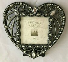 "Silvertone Rhinestone 5.5X5.5"" Heart Frame Holds 3X3"" Photo"